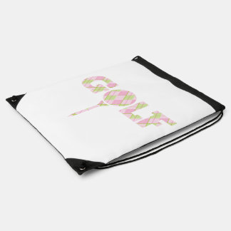 Pink and green ladies golf tee drawstring bag