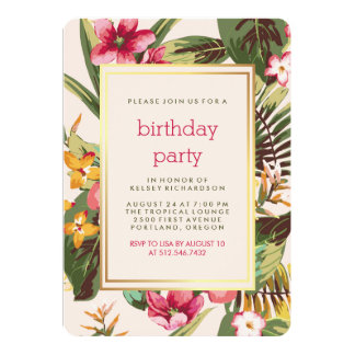 Pink and Green Leaves Tropical Party with Gold Card