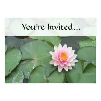 Pink and Green Lily Pad Pretty Photograph Personalized Invite