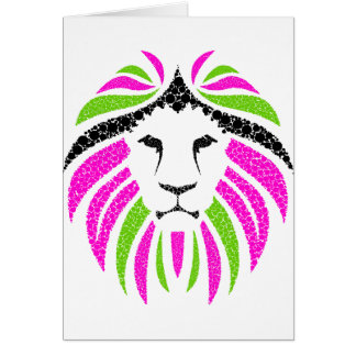 Pink and Green Lion Greeting Card (Customize It)