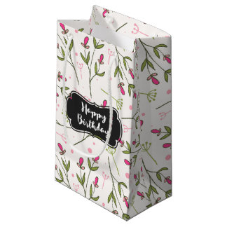 Pink and Green Long Stem Wildflowers Birthday Small Gift Bag