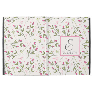 "Pink and Green Long Stem Wildflowers Monogram iPad Pro 12.9"" Case"