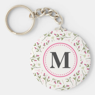 Pink and Green Long Stem Wildflowers Monogram Key Ring