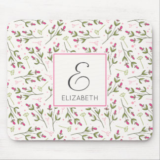 Pink and Green Long Stem Wildflowers Monogram Mouse Pad