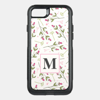 Pink and Green Long Stem Wildflowers Monogram OtterBox Commuter iPhone 8/7 Case
