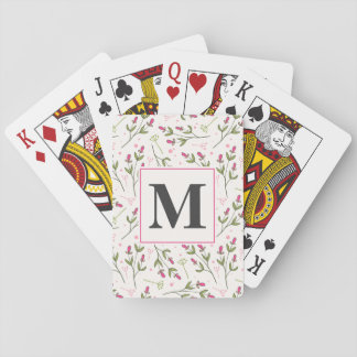 Pink and Green Long Stem Wildflowers Monogram Playing Cards