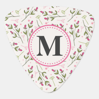 Pink and Green Long Stem Wildflowers Monogram Plectrum