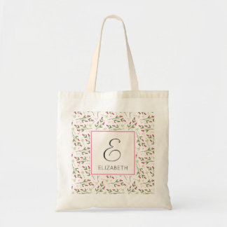 Pink and Green Long Stem Wildflowers Monogram Tote Bag