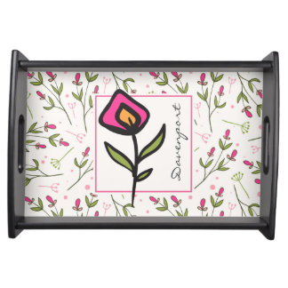 Pink and Green Long Stem Wildflowers Personalized Serving Tray