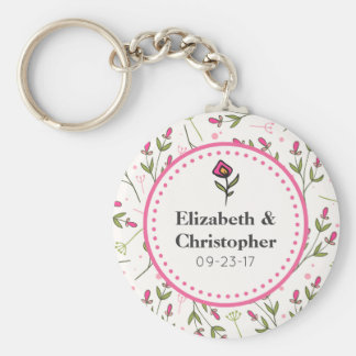 Pink and Green Long Stem Wildflowers Wedding Basic Round Button Key Ring
