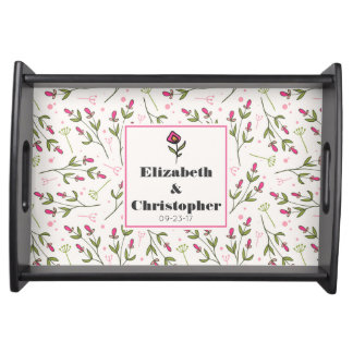 Pink and Green Long Stem Wildflowers Wedding Serving Tray