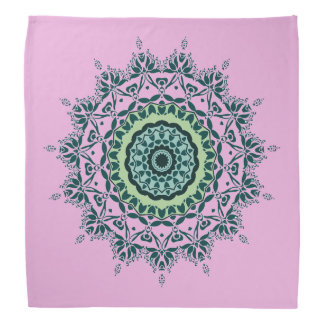 Pink and Green Mandala Bandana