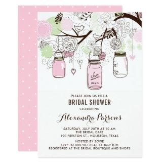 Pink and Green Mason Jars Floral Bridal Shower Card