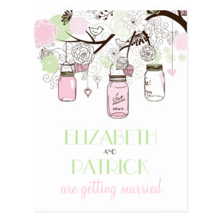 Pink and Green Mason Jars Save the Date Postcard