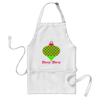 Pink and Green Merry Merry Christmas Ornament Standard Apron