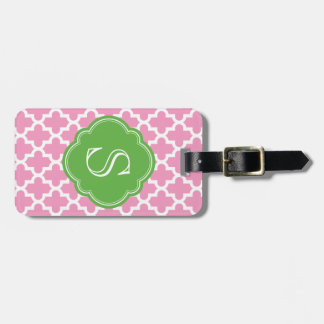 Pink and Green Modern Moroccan Custom Monogram Tag For Luggage