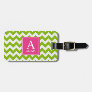 Pink and Green Monogram Chevron Print Luggage Tag