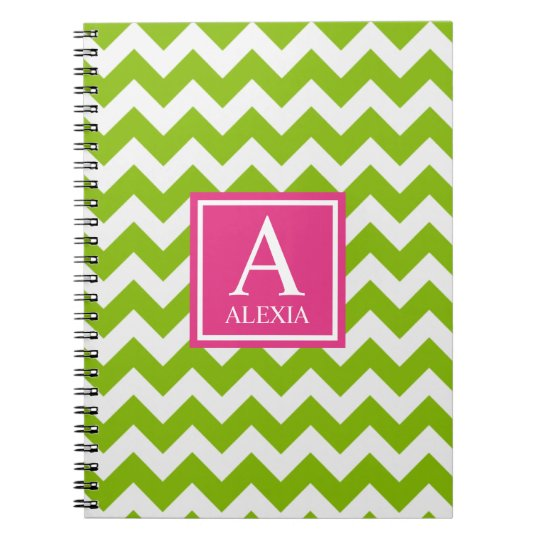 Pink and Green Monogram Chevron Print Notebook
