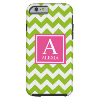 Pink and Green Monogram Chevron Print Tough iPhone 6 Case