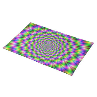 Pink and Green Neon Flower American MoJo Placemats