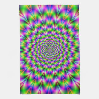 Pink and Green Neon Flower Kitchen Towels