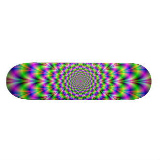Pink and Green Neon Flower Skateboard