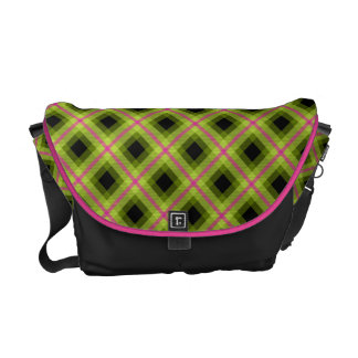 Pink and Green Neon Plaid Commuter Bags