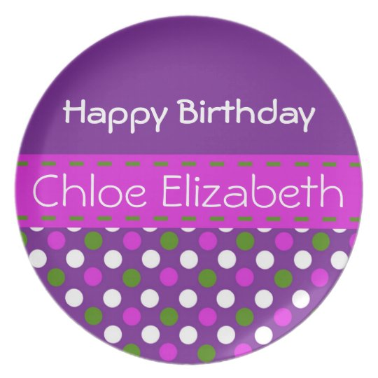 Pink and Green on Purple Polka Dot Birthday Plate