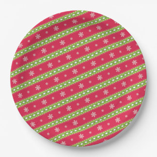 Pink and Green Ornaments & Snowflakes Paper Plate