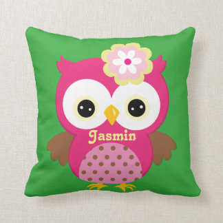Pink and Green Owl Baby Keepsake Cushion