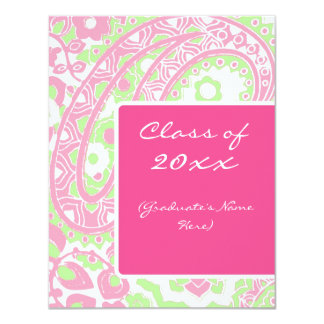 Pink and Green Paisley Graduation Announcement