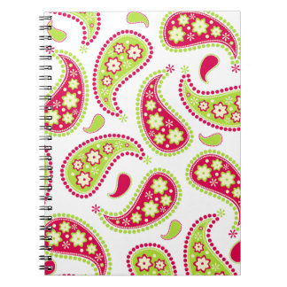Pink and Green Paisley Notebook