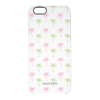 Pink and Green Palm Trees Pattern Clear iPhone 6/6S Case