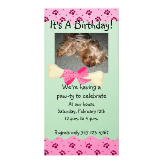 Pink and Green Paw Print Birthday Invitation