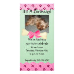 Pink and Green Paw Print Birthday Invitation Photo Greeting Card
