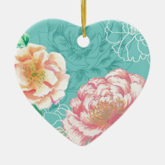 Pink and green peony floral ceramic heart decoration