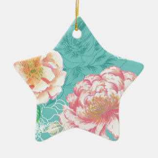 Pink and green peony floral ceramic star decoration