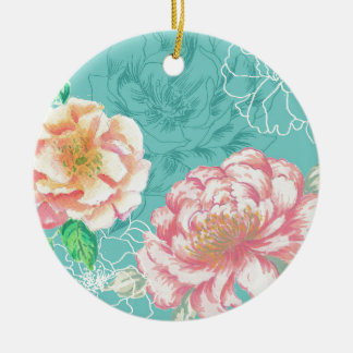 Pink and green peony floral christmas ornament