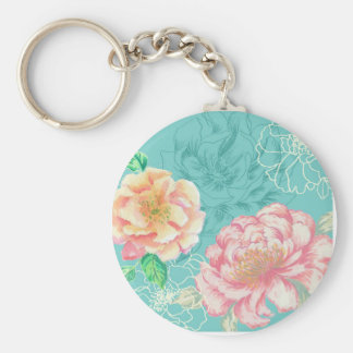 Pink and green peony floral key ring