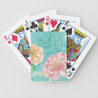 Pink and green peony floral poker deck
