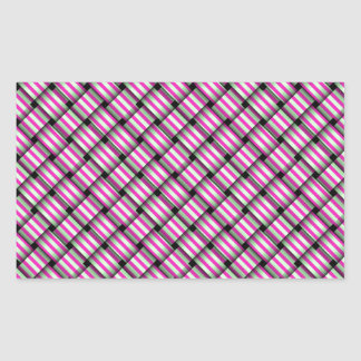 Pink and green plaid striped weave rectangle stickers