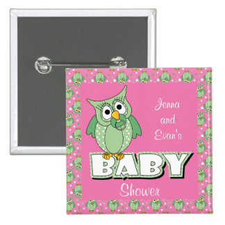 Pink and Green Polka Dot Owl | Baby Shower Theme 15 Cm Square Badge
