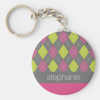 Pink and Green Preppy Argyle Plaid Pattern Key Ring
