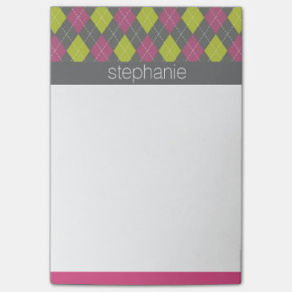 Pink and Green Preppy Argyle Plaid Pattern Post-it Notes