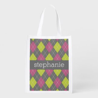Pink and Green Preppy Argyle Plaid Pattern Reusable Grocery Bag