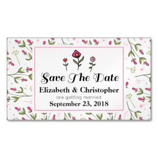 Pink and Green Pretty Wildflowers Save The Date Magnetic Business Cards