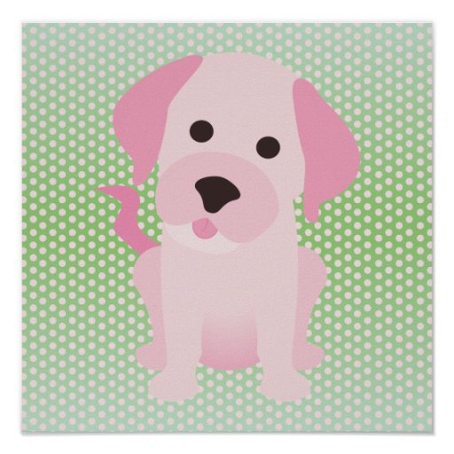 Pink and Green Puppy Dog Poster