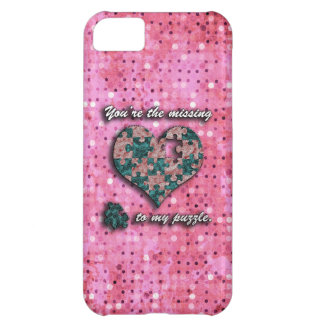 Pink and Green Puzzle Heart iPhone 5C Case