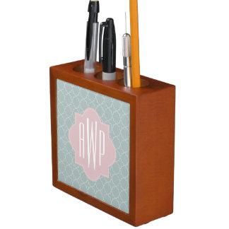 Pink and Green Quatrefoil Monogram Desk Organizer