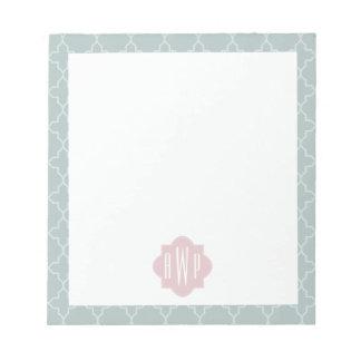 Pink and Green Quatrefoil Monogram Memo Note Pad
